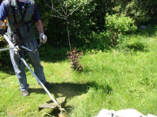 Фотография покос травы триммером